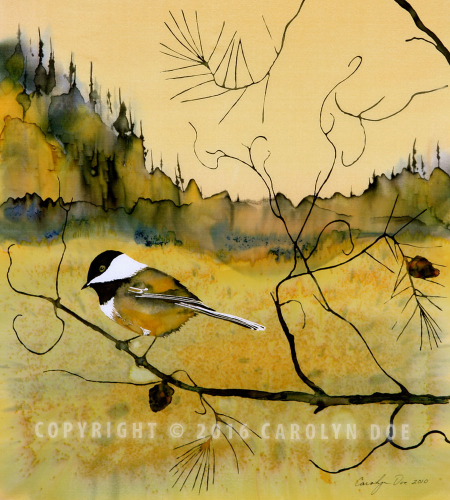 Chickadee in Dancing Pine   Purchase an archival print   Original: Sold