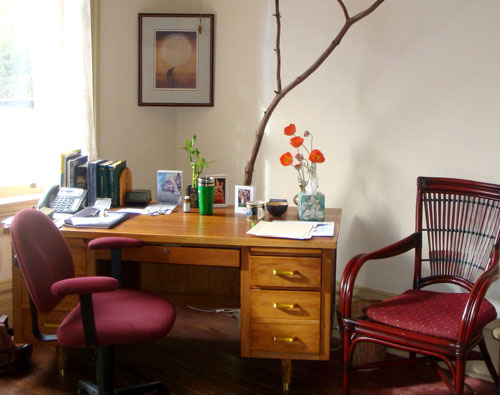 A corner of my office, Studio 15, <br>filled with afternoon light