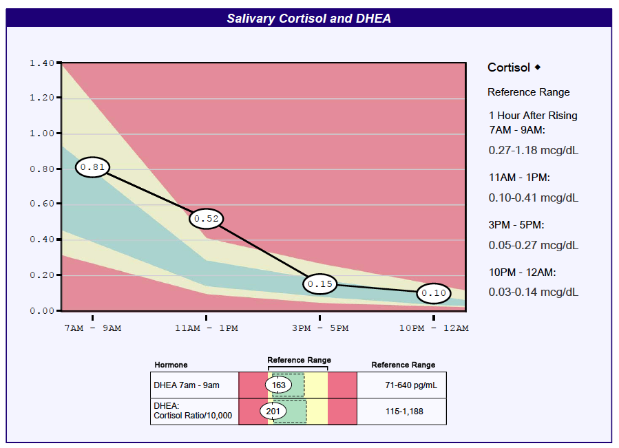An example of a salivary Adrenal Stress Profile