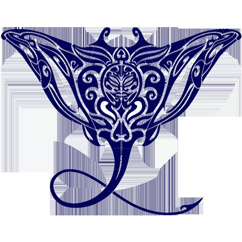 Tribal Manta Ray (Blue)
