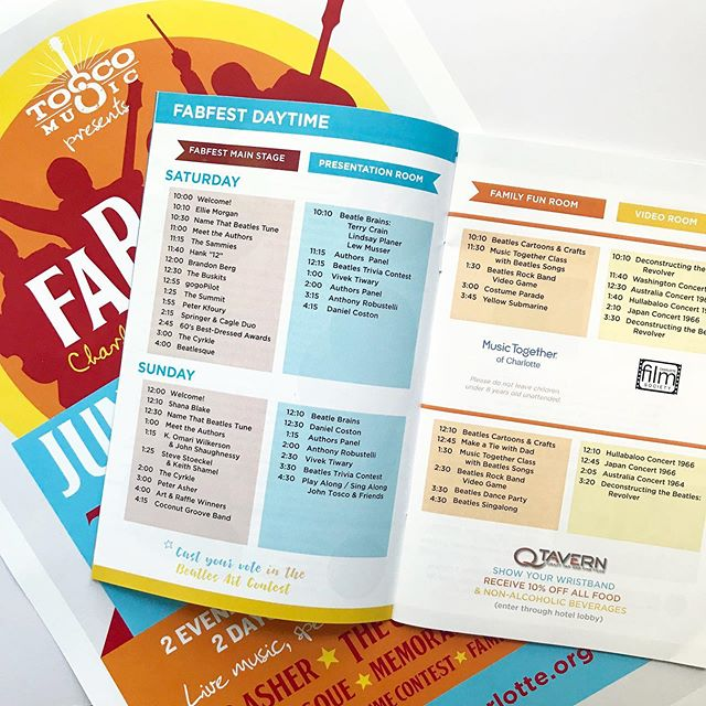 This year we've had the privilege of helping out with a few design projects for @toscomusic. Recently we worked on the design concept for this spread in the program for FabFest. . The challenge was to come up with a design that used color to help organize the events happening at the same time in different venues and on different days. . Sometimes the simplest concepts are the best solution. . TAGS: #toscomusicparty #fabfest #fabfestcharlotte #cltbeatlesfeatival #cltmusic #charlottearts #cltevents #visitcharlotte #charlottesgotalot #clt #uptowncharlottenc #freelancelife #wearethecreativeeconomy #charlottegraphicdesign #charlottegraphicdesigner #cltagenda #704 #charlottebusiness #charlottemarketing
