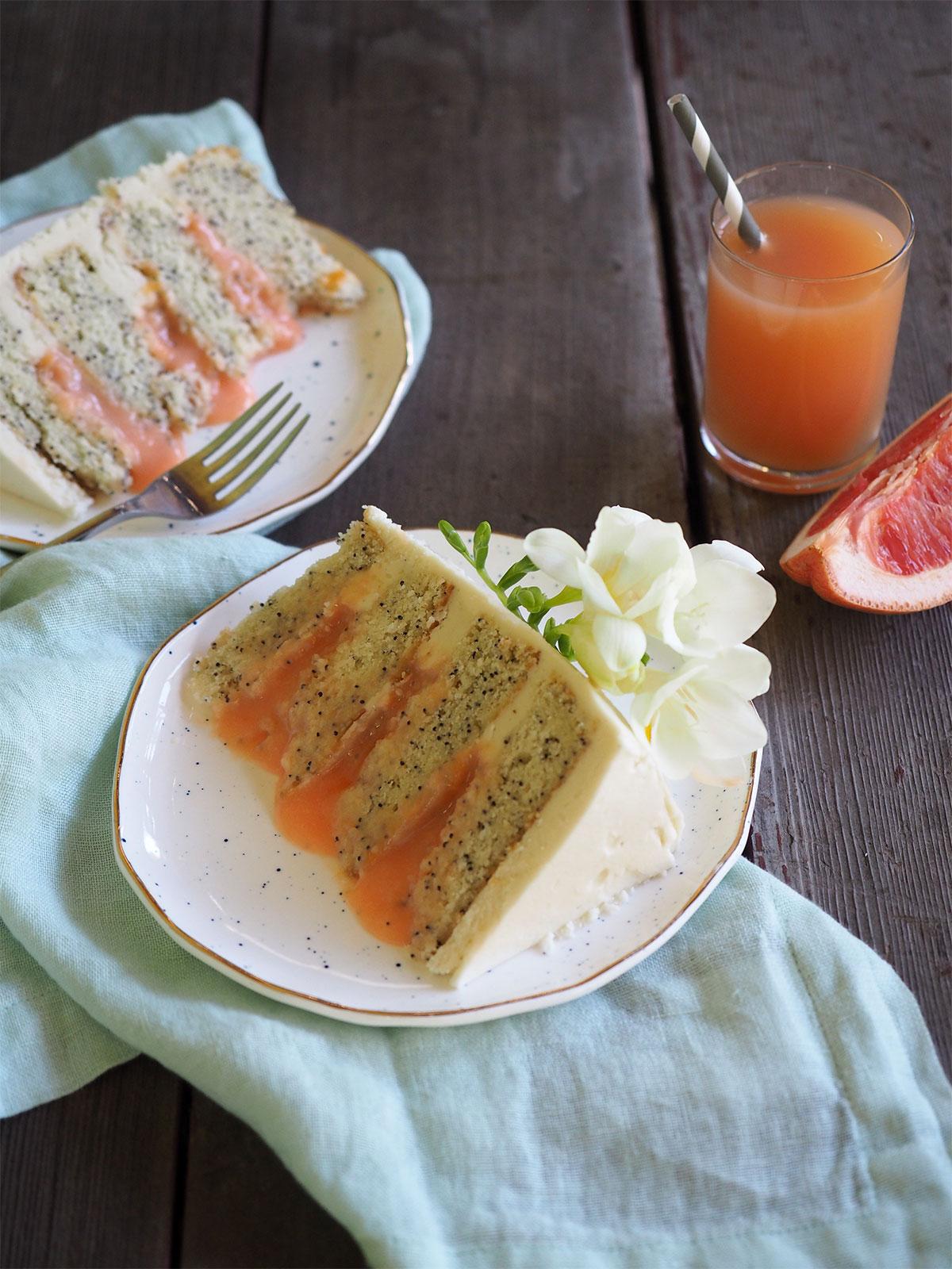 Chamomile Poppyseed Cake With Grapefruit Curd