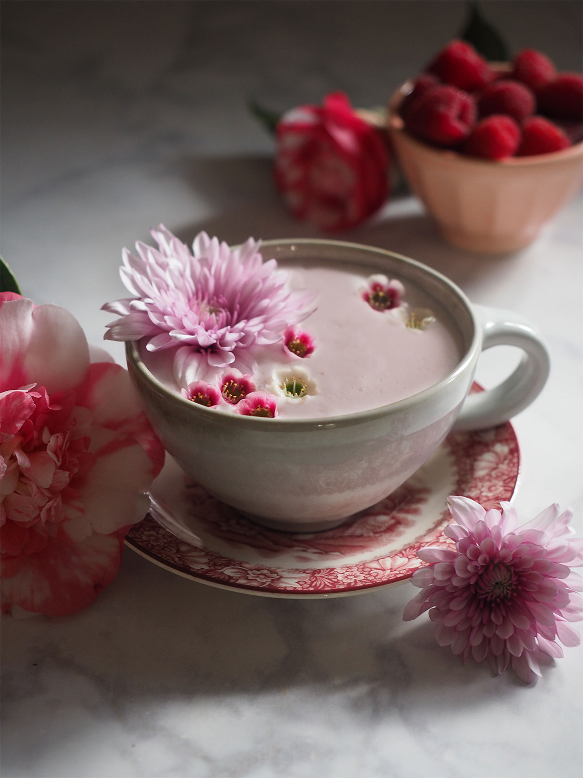 Almond tea with natural beetroot creates the pink color in this Pink Almond Tea Latte. It's a cozy and slightly sweet indulgence for snuggling on the weekend or catching up with your ladies.