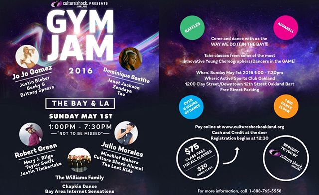 #GymJam is back this SUNDAY May 1st! We have an amazing line up of choreographers! Registration begins 12:30pm!