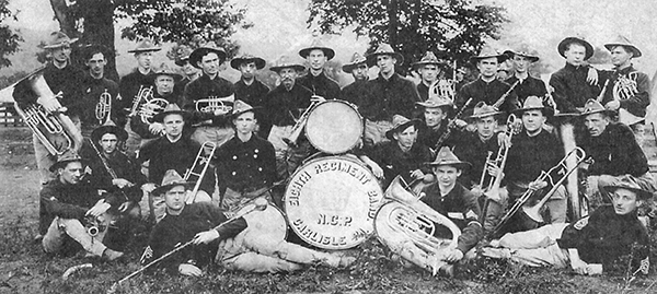The band depicted is the 15th Regiment Band, circa 1898