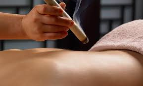 Moxibustion     A technique that warms and promotes circulation.  The moxa stick, held at least an inch away, has a pleasant odor and the heat induces a deep, relaxed state.