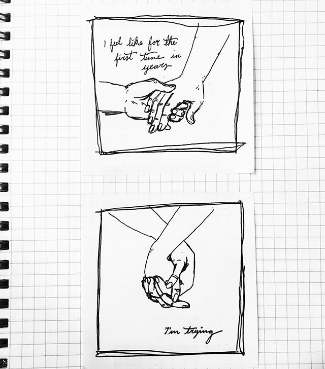 Putting real effort into things can be hard but wow are the rewards grand. Sometimes it feels I'm just walking through a fog and the end is a hard thing to keep sight of. But we'll get there, yknow? . . .  #art #comics #illustration #illo #comic #alternativecomics #narrative #drawing #pen #ink #hands #hand #illustratorsofinstagram #artistsoninstagram #artist #goals #sad #imtrying #blackandwhite #holdinghands