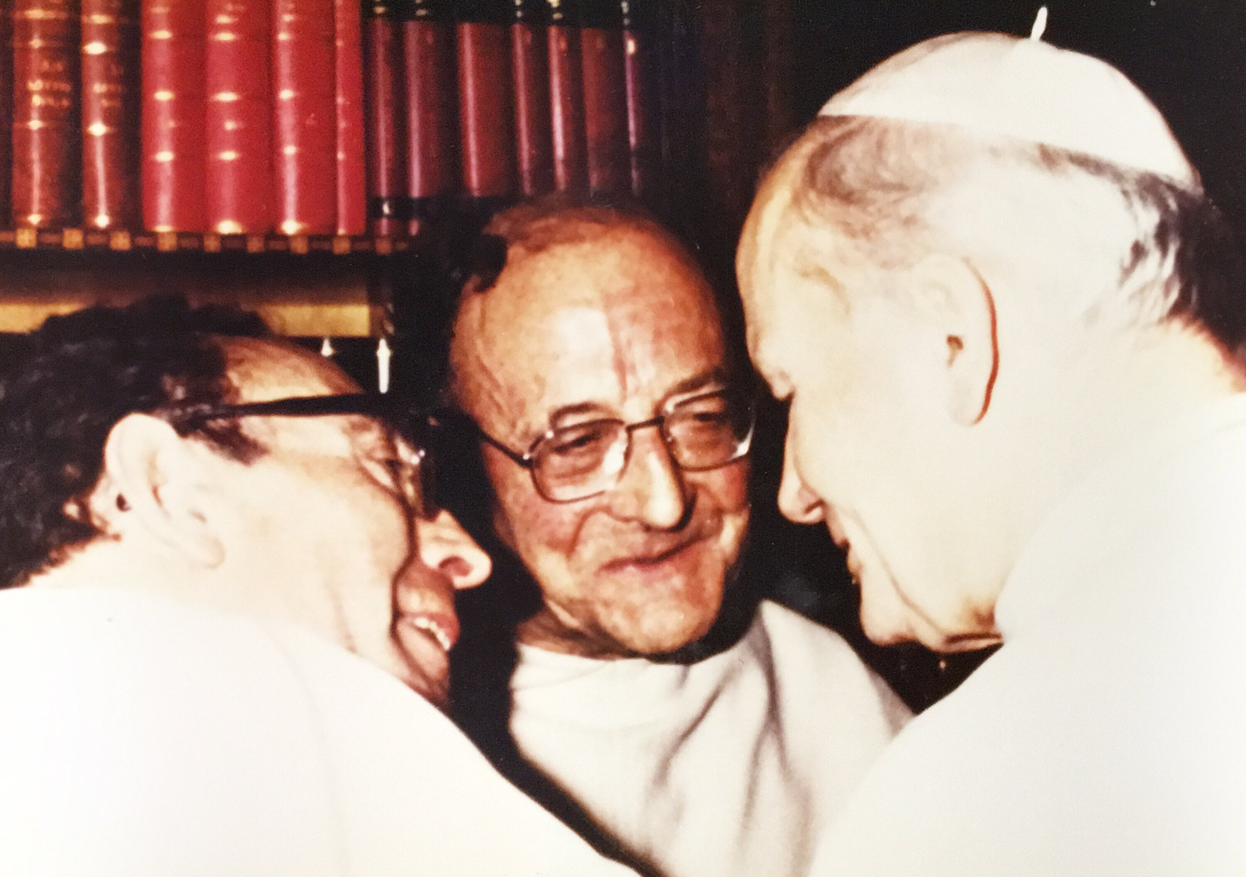 Pere Thomas, his brother Pere Marie Dominique Philipe, and St. John Paul II