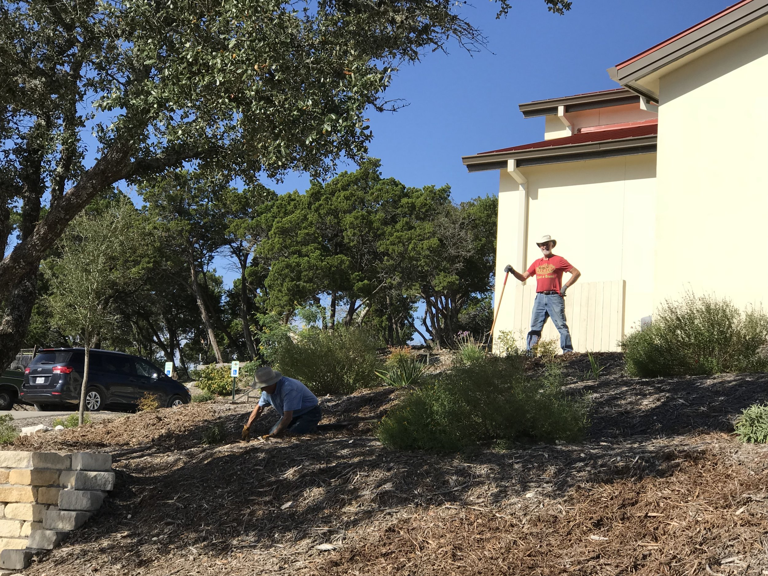 Kathleen, Steve Magdich and Tim Barker are the gardening team that is responsible for the beautiful landscaping around the O'Callaghan Divine Mercy Center. And Dennis Brown's efforts help to keep the plants alive during the Texas droughts.