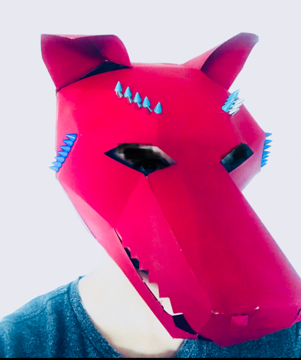 "Mask 12: ""The Revolt"" Design and Stud work on the animal head. Final Project. -"