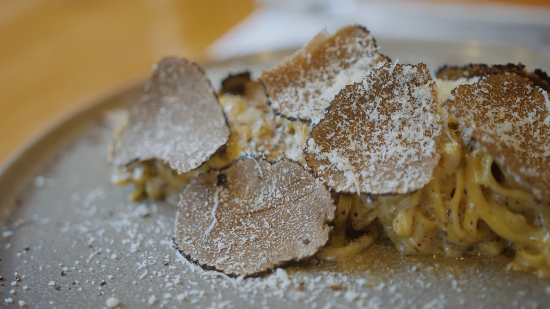 A frame from the URSA Mini pro G2 of Toni's Kitchen pasta with truffles. All G2 shots are with the Sigma Art 18-35mm 1.8