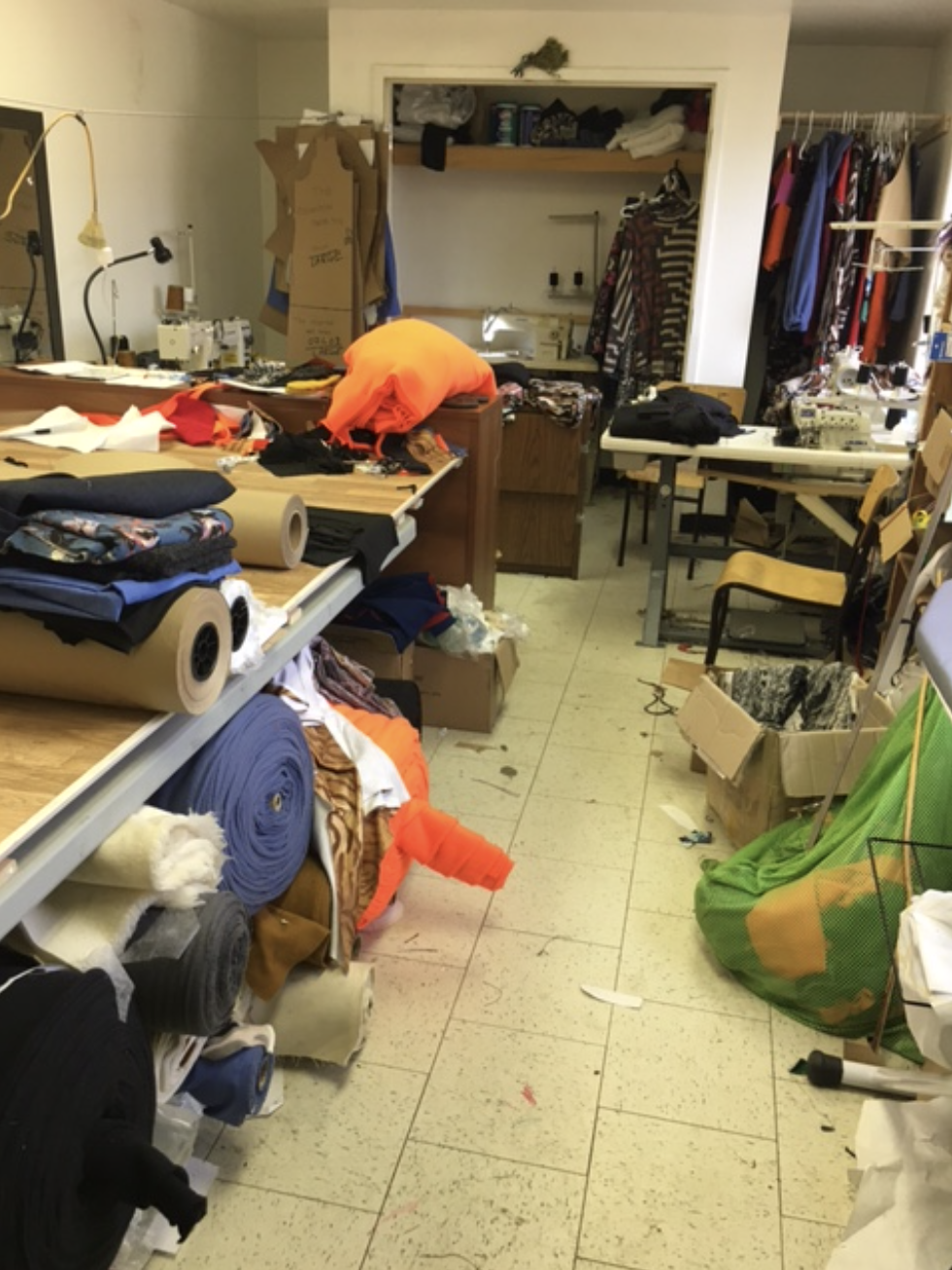 This is the studio above the firehall where we have set up shop. It's 12ft by 20ft.It looks messy but that's just because there is so much activity as we cut and sew fabrics and make patterns, while visitors come and go throughout the day.