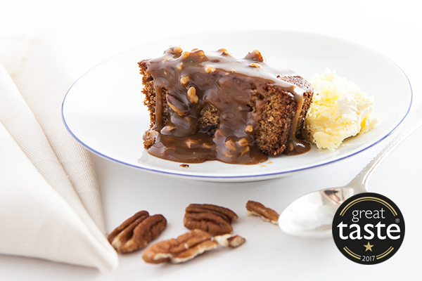 Sticky Toffee and Toasted Pecan Nut Pudding  A buttery date sponge pudding with a rich toffee and toasted pecan nut sauce.