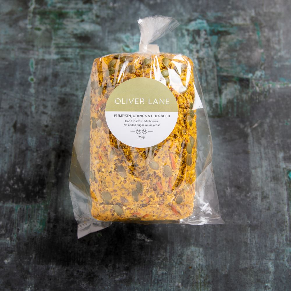 Rich in flavour with roasted, local pumpkin and power-packed with the health benefits of quinoa and chia seeds. - INGREDIENTS:Gluten-free flour blend, filtered water, pumpkin (15%), carrot, quinoa (5%), egg, organic coconut, sunflower seeds, pumpkin seeds, almond meal, chia seeds (3%), organic puffed quinoa, cuminALLERGENS: contains nuts, egg