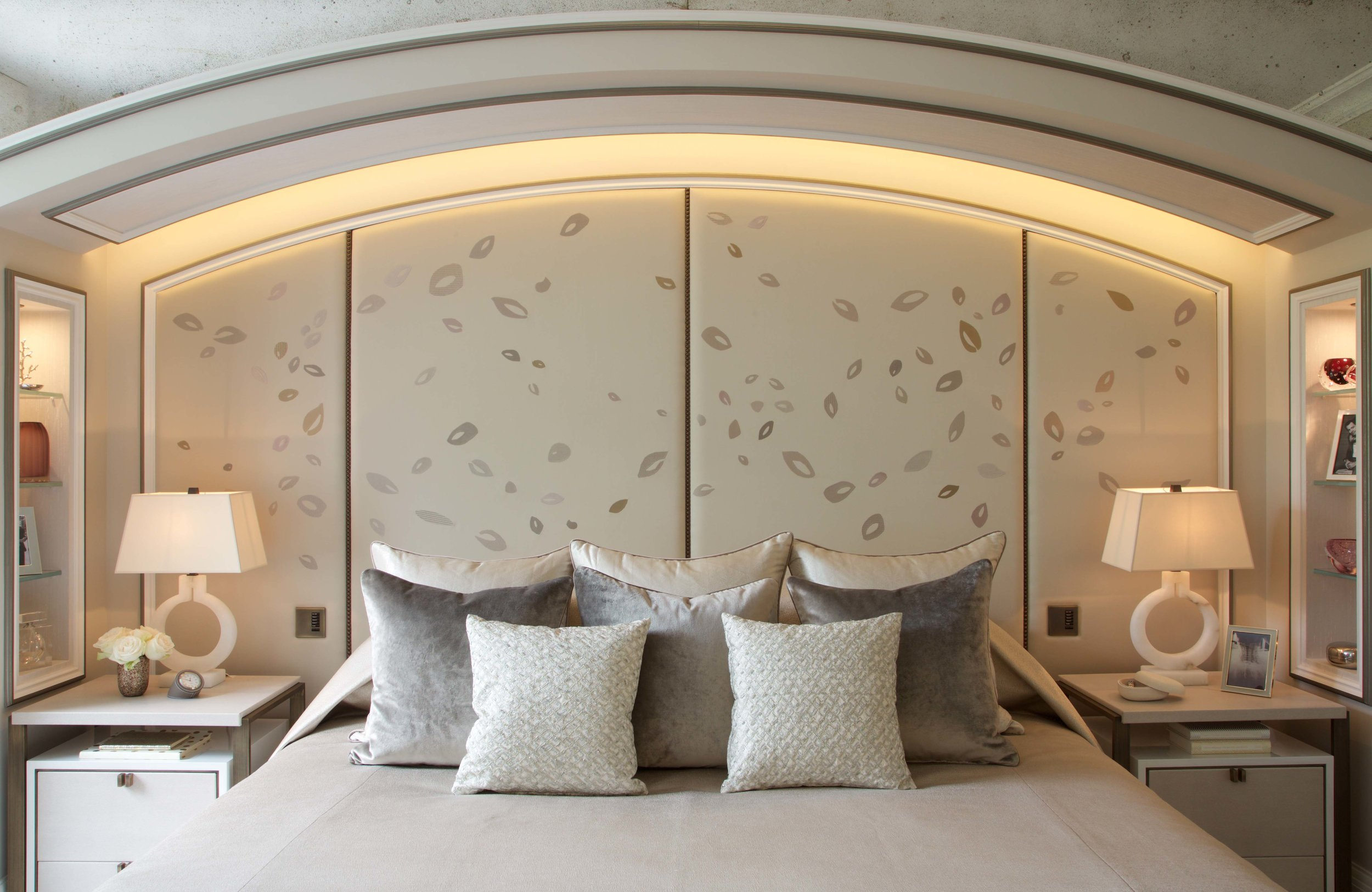 "Headboard created for  M Design London for a spectacular house in the heart of Belgravia. ""This one-of-a-kind headboard was created exclusively by the immensely talented @zara_day_Rosemaryrose who embroidered a delicate leaf design onto silk panels."