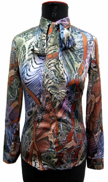 FP-316 Digital print silk blouse