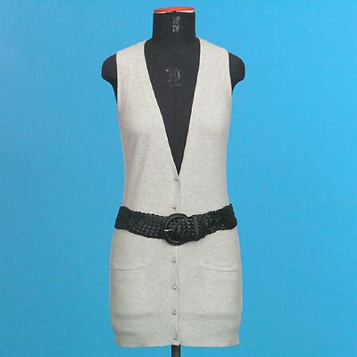 FP 51A/B Sleeveless long cardigan + Leather Belt