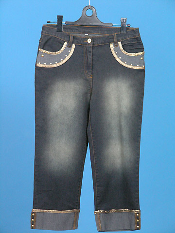 FP-160 Fake leather decor jeans