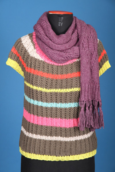 FP-280A&B fluorescent color stripes lily yarn pullover & scarf