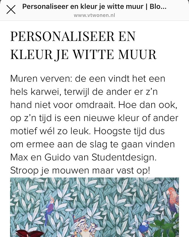 The great people at @student.design has written about the patternprinterproject.com on their blog for @vtwonen in the Netherlands! ✨Whoop whoop! #rejectthewhitewall