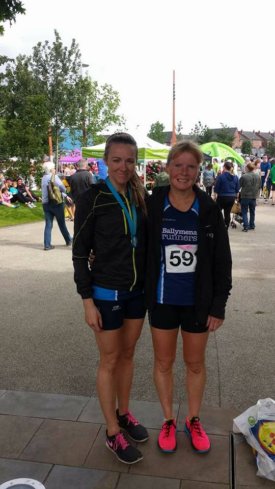 Paula Worthington and Geraldine Quigley at the Connswater 5k
