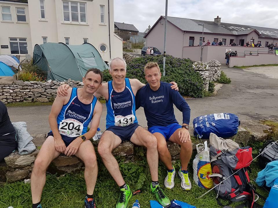 Rodney Agnew, John Hasson and Mark Alexander - first three Ballymena finishers at Rathlin