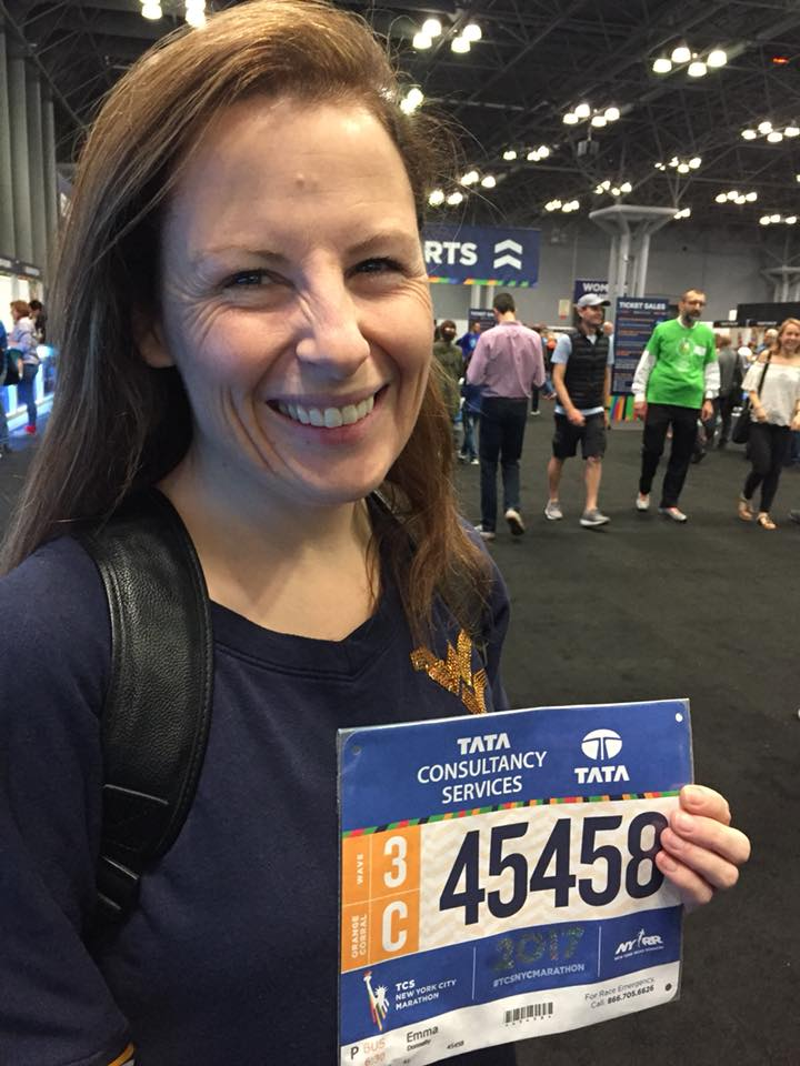 Emma Donnelly collects her New York City Marathon from the expo