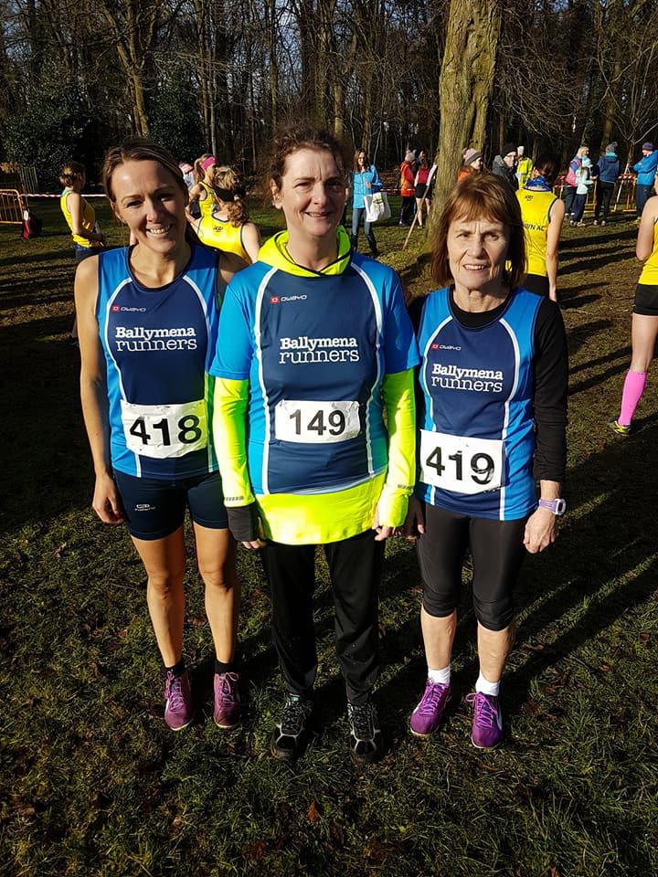 Paula Worthington, Bernadette Carmichael and Brigid Quinn at the cross-country in Stormont