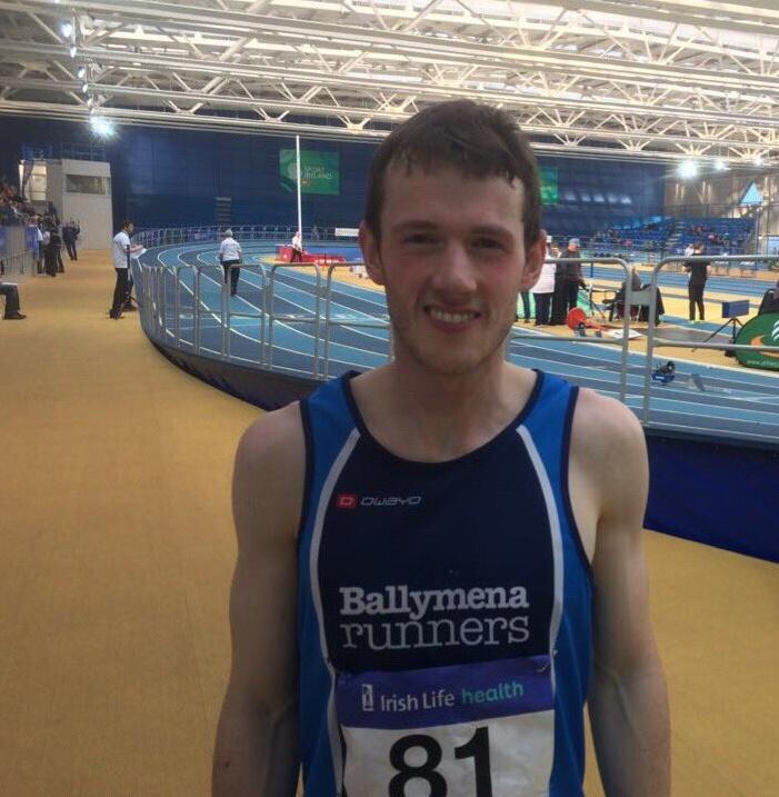 James Hamilton at the AAI Indoor Games in Dublin, setting a 3000m Indoor PB