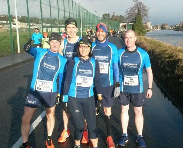 Rodney Agnew, John Hasson, Aine Hasson, John Robinson and Paul Cupples at the DUNE Half Marathon
