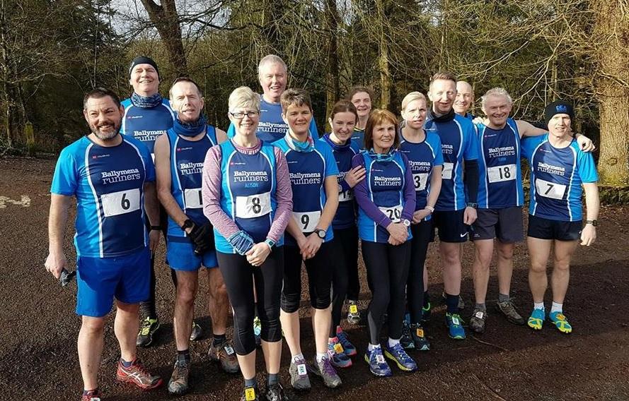 Ballymena Runners team group ahead of the Parkanaur 10-mile trail race