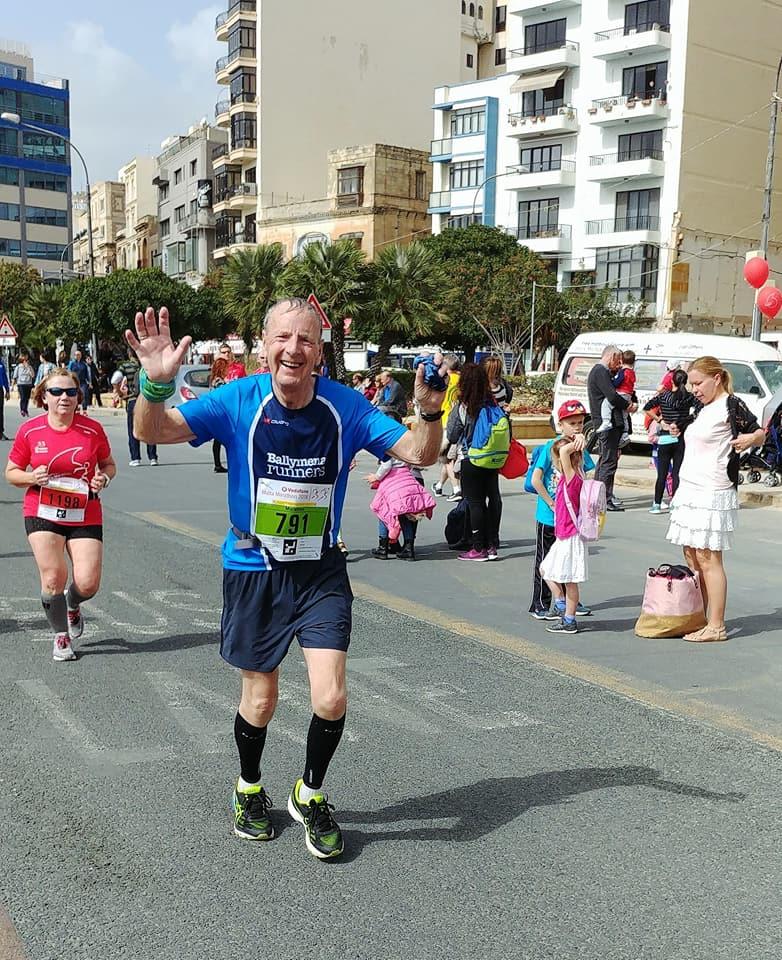 Billy Bamber taking part in the Malta Marathon