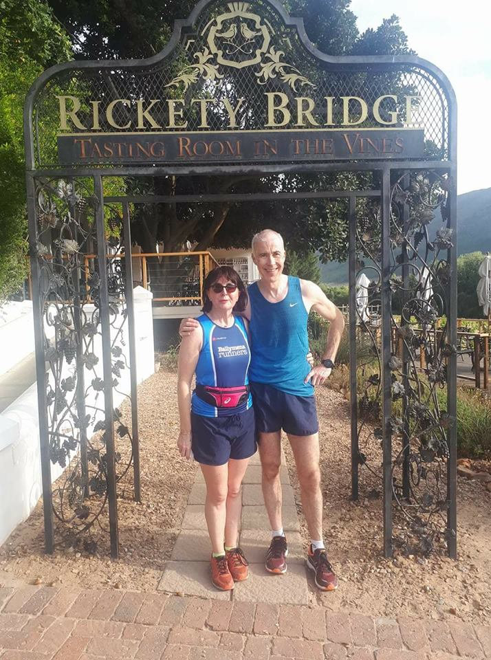 Aine and John Hasson at South Africa's Franschhoek parkrun