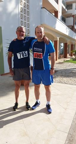 Robert Meban in Portugal with Mike Gratton, winner of the 1983 London Marathon
