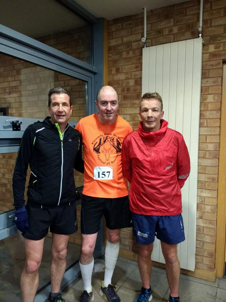 Noel Connor, Seamus Kelly and Mark Alexander - top 3 men at the Ballymena Academy Charity 5k