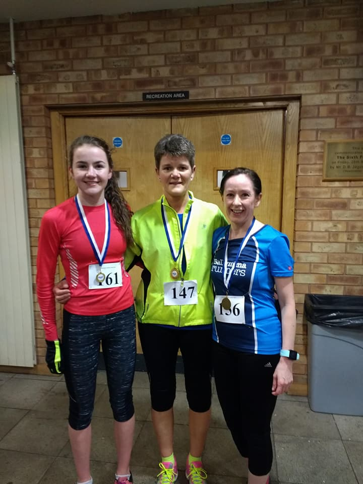 Katie Agnew, Linda Petticrew and Sinead Scullion - top 3 ladies at the Ballymena Academy Charity 5k