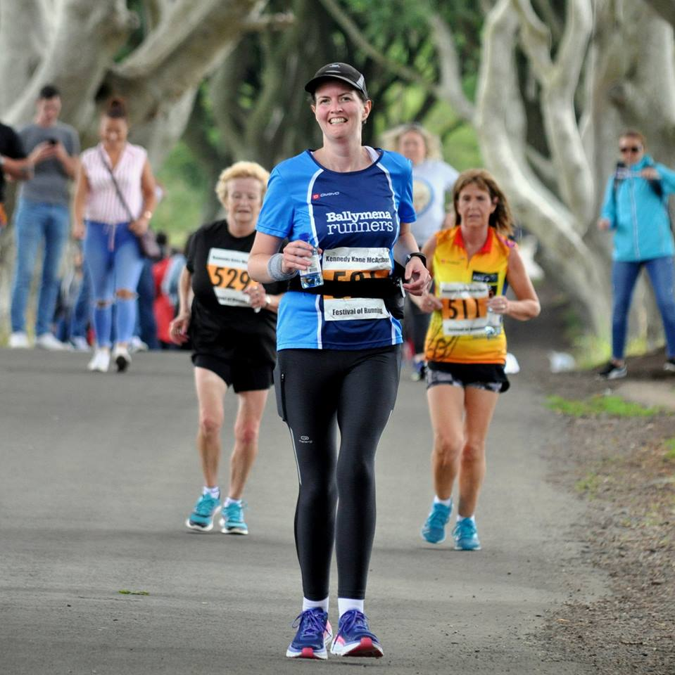 Iverene Carleton on her way to a PB at the Dark Hedges Half Marathon