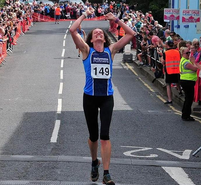 Gillian Wasson celebrates her win at Lurig