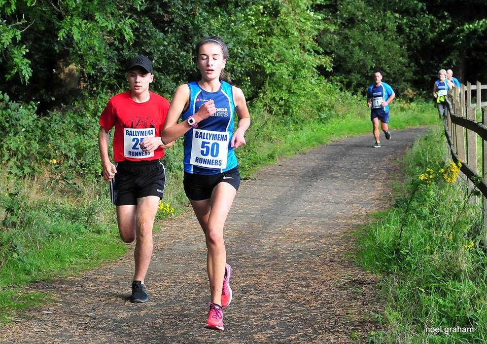 Zara Surgenor on her way to winning the ladies race in the Cullybackey Community Partnership fun run