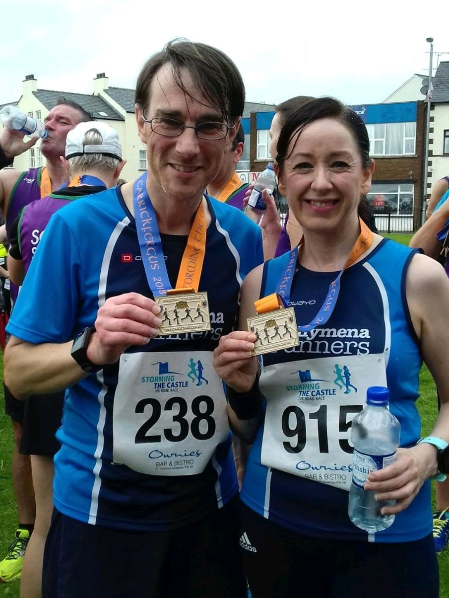 Scott Fleming and Sinead Scullion achieved 10k personal bests Storming The Castle on Sunday