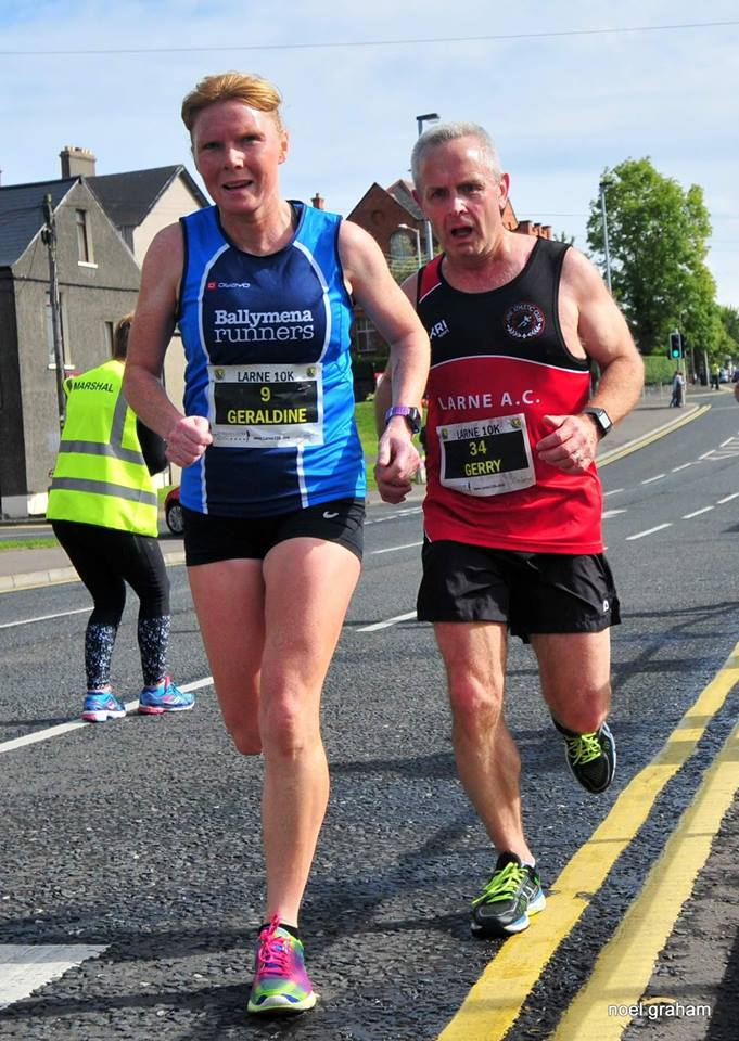 Geraldine Quigley on her way to winning her age category at the Larne 10k