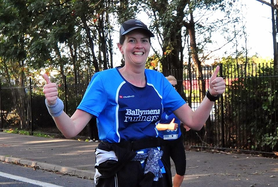 Thumbs up from Iverene Carleton on her way to a PB at the Belfast Half Marathon