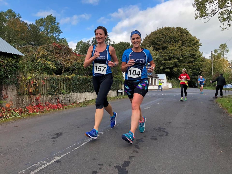 Andrea Wylie and Geraldine McClintock in action at Kells on Saturday