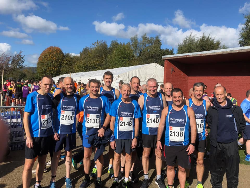 Some of the Men's Masters squad ahead of the NI & Ulster Road Relay Championships