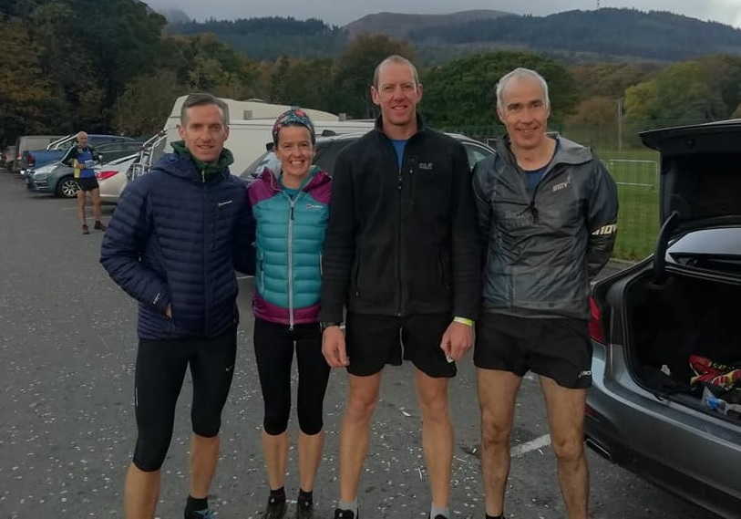 [L-R] Tim Lowry, Gillian Wasson, William Fleck and John Hasson at the Mourne Mountain Skyline Trail Race