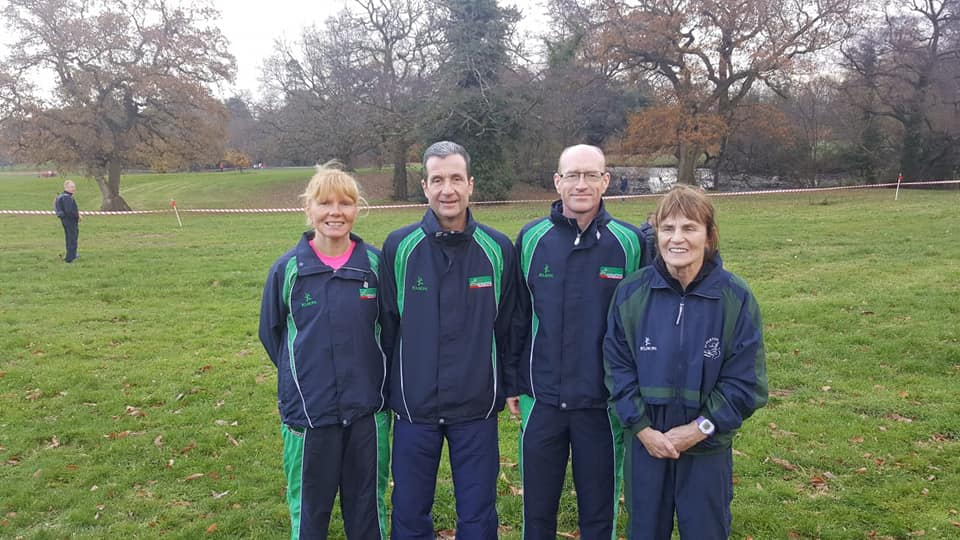 [L-R] Geraldine Quigley, Noel Connor, James Turtle and Brigid Quinn at the International Masters Cross Country event in Swansea