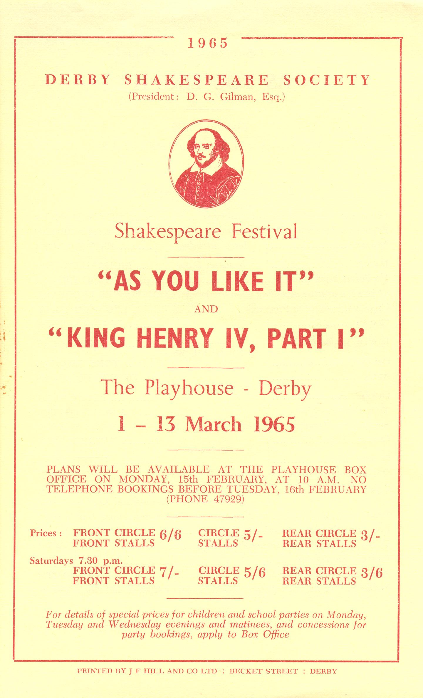 'As You Like It' & Henry IV (Part I) 1965