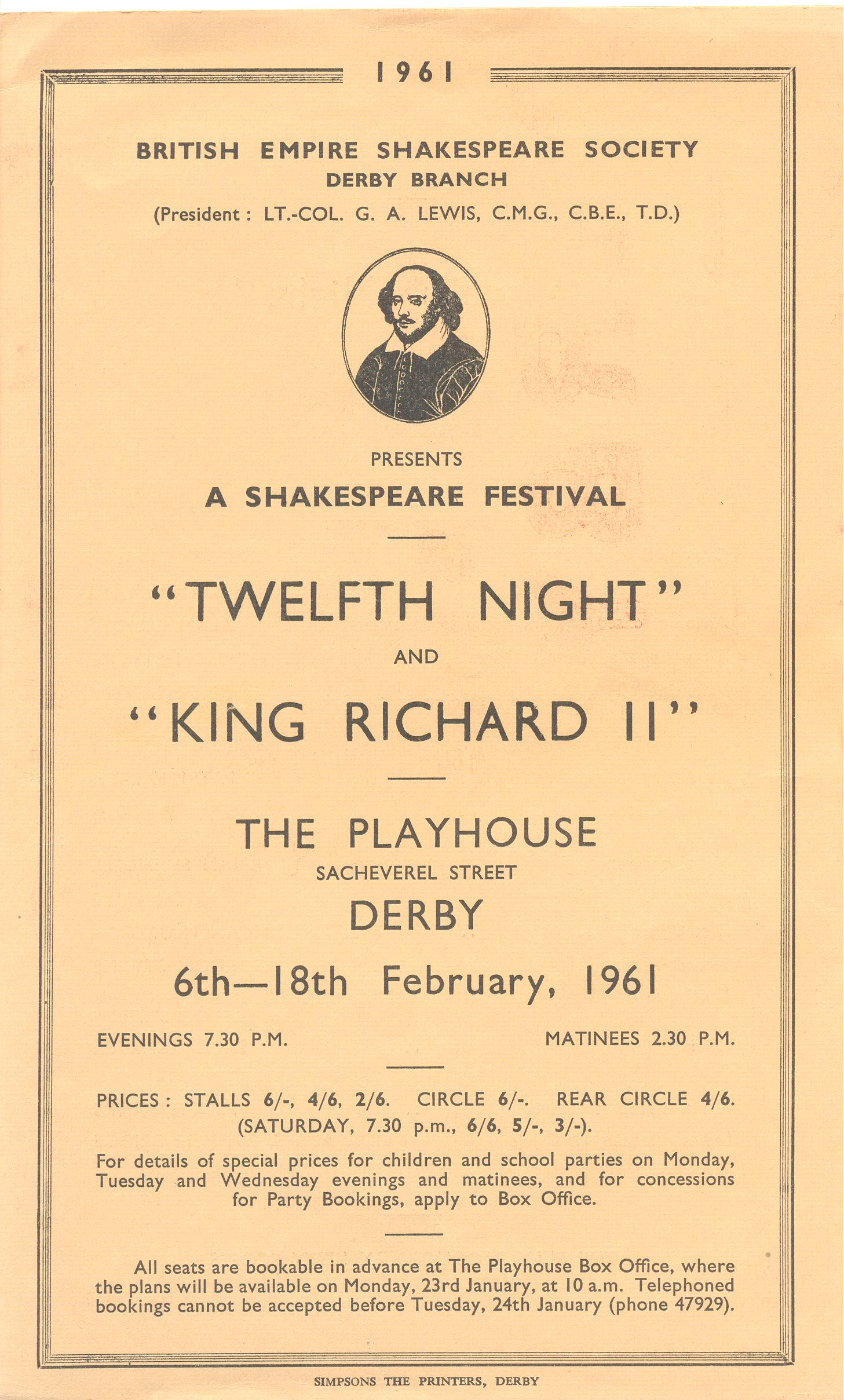 'Twelfth Night' & 'Richard II' 1961