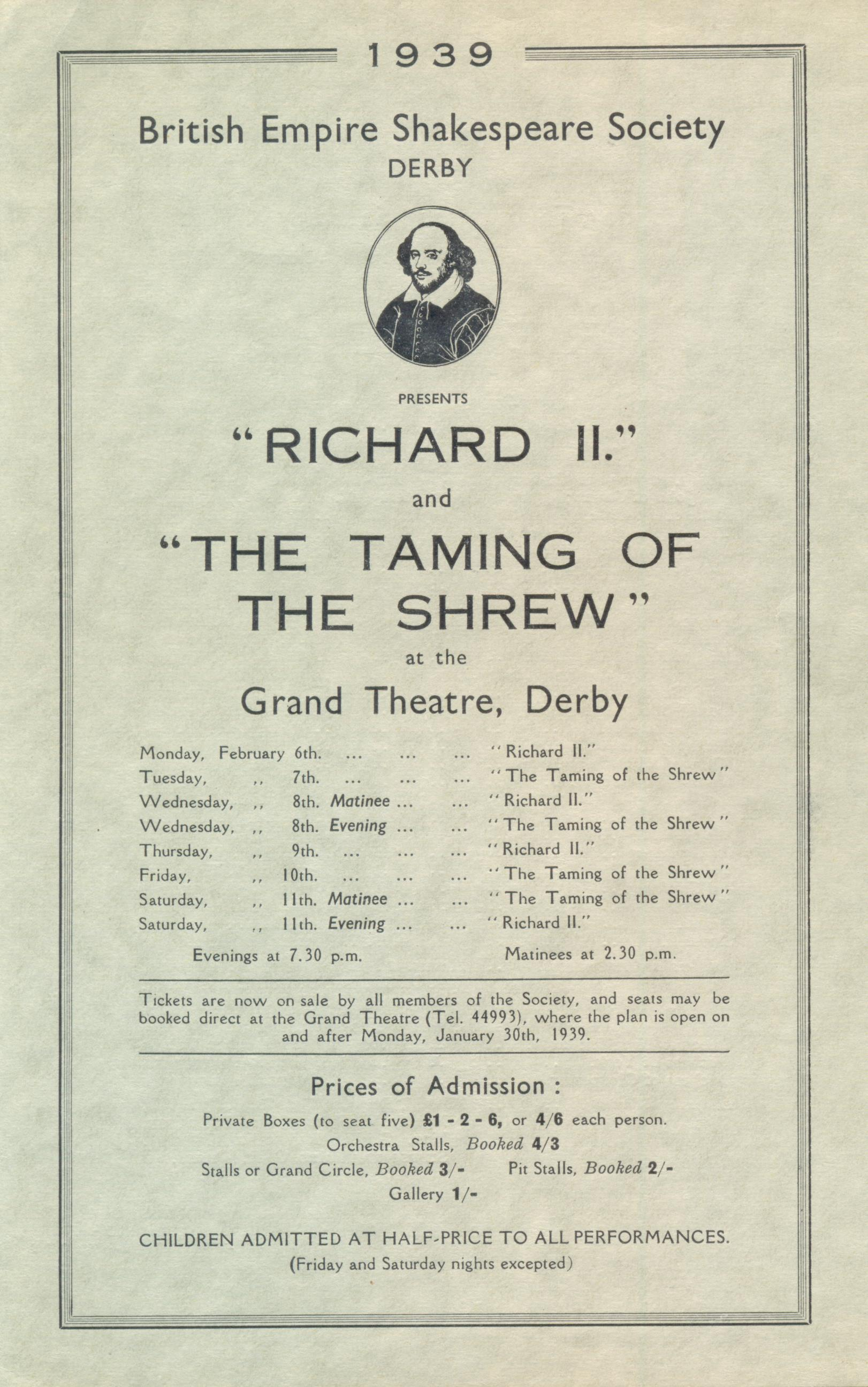'Richard II' & 'The Taming Of The Shrew' 1939