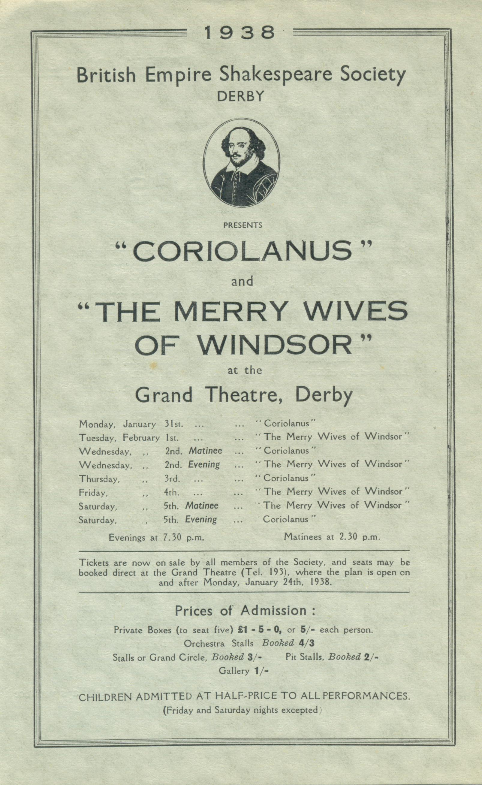 'Coriolanus' & 'The Merry Wives Of Windsor' 1938